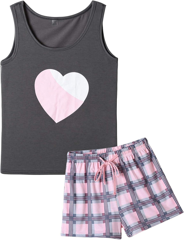 VENTELAN Women Ranking integrated 1st place Pajamas Cute Tank and Shorts Sleepwe Soft Popular standard Set PJS