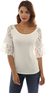 PattyBoutik Women Lace Raglan 3/4 Bell Sleeve Blouse