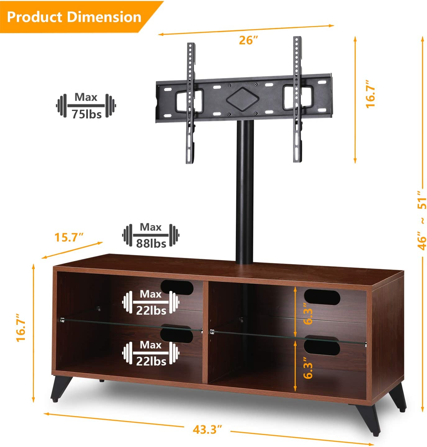 2 Tier Tempered Glass Shelves for Media Storage 5Rcom Corner TV ...