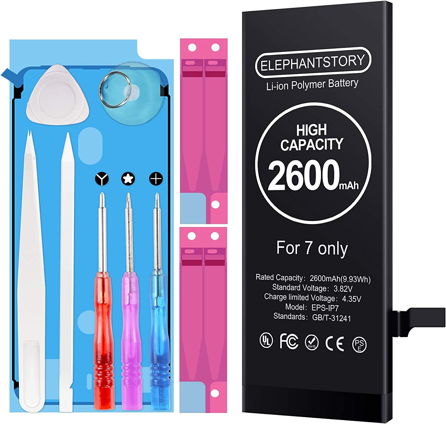 Battery for iPhone 7/7G, High Capacity 2600mAh iPhone 7 Replacement Battery New 0 Cycle fit for Model A1660, A1778, and A1779 with Professional Repair Tool Kit and Instructions Upgraded