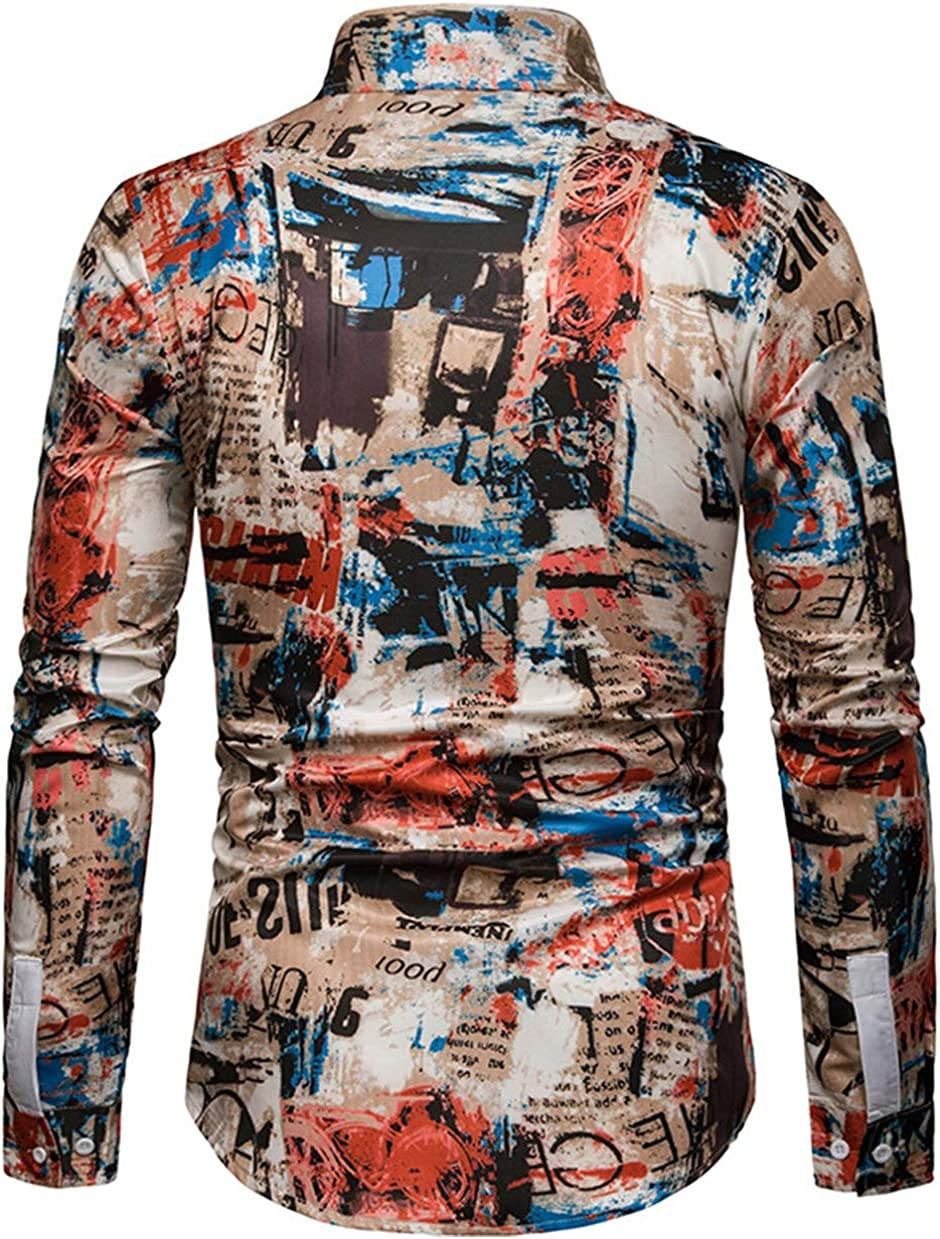 Men's Large Size Shirt Fashion Casual Classic Contrast Color Stitching Letters Printed Long-Sleeved Shirt Shirt Simple Wild