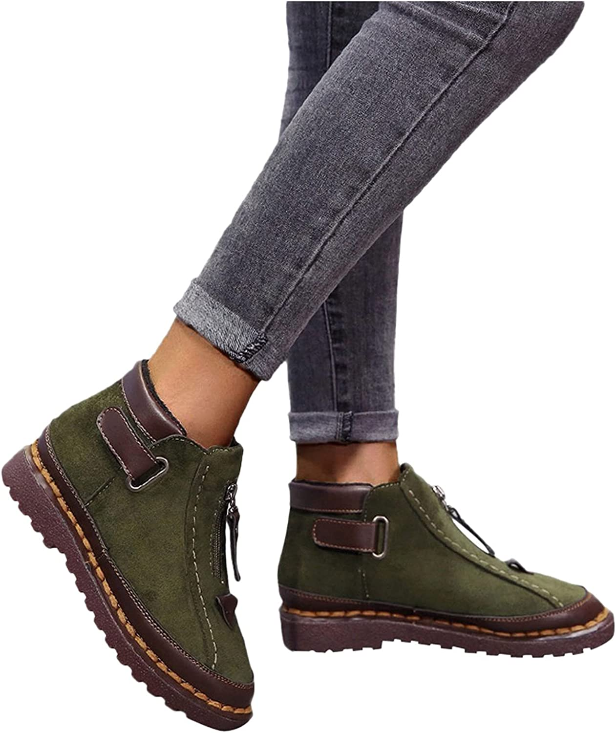 Xudanell Mujer free Boots Chunky Rare Flat Slip Non-Slip Leather On Suede