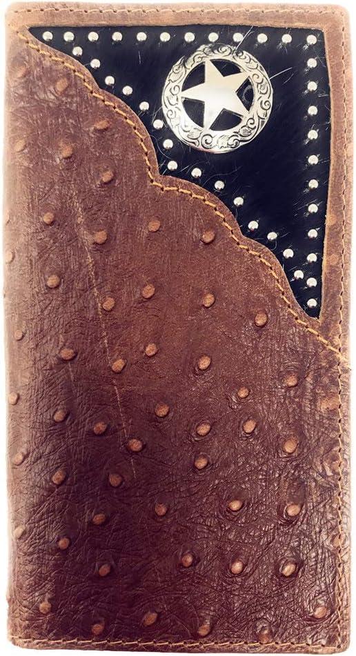 Western Mens Ostrich Genuine Leather Lone Star Long Cowhide Stud Bifold Wallet (Brown)