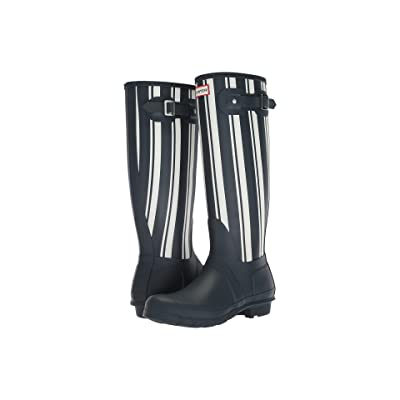 Hunter Original Garden Stripe Tall Rain Boots (Navy/White) Women
