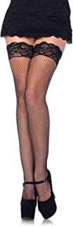 Leg Avenue Women's Stay-Up Fishnet Stockings with Backseam