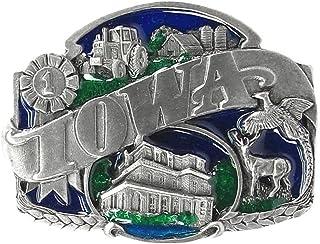 Pewter Belt Buckle - Iowa Split Image - Pewter Belt Buckle