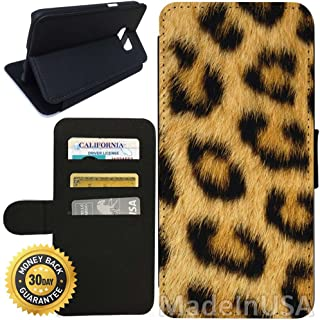 Flip Wallet Case for Galaxy S7 (Leopard Fur) with Adjustable Stand and 3 Card Holders | Shock Protection | Lightweight | Includes Stylus Pen by Innosub