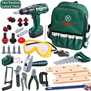 KEJIH Deluxe Power Toy Tool Sets Pretend Play Kids Tool Set Tool Kit Construction Tool with Electric Cordless Drill,Goggles,Bracelet /Ruler,Whistle,Storage A Sturdy Oxford Schoolbag. All-Round Gifts