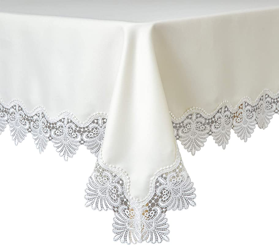 Glory Season White Lace Beige Cotton Tablecloth Anti Slip Table Decor Rectangular Table Cover For Kitchen And Dinning Room Wedding Party 55x86ines 140x220cm