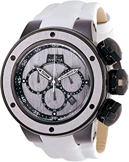 Men's Subaqua Stainless Steel Quartz Watch with Leather-Synthetic Strap, White, 30 (Model: 28258)