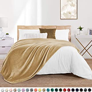 "Walensee Fleece Blanket Plush Throw Fuzzy Lightweight (Throw Size 50""x60"" Camel) Super Soft Microfiber Flannel Blankets for Couch, Bed, Sofa Ultra Luxurious Warm and Cozy for All Seasons"