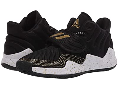 adidas Kids Deep Threat Basketball (Little Kid) (Core Black/Footwear White/Gold Metallic) Kids Shoes