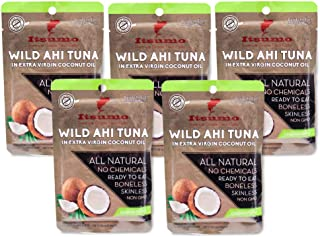Tuna Keto Snacks - No Carbs Wild Ahi Tuna in Coconut Oil (Pack of 5)
