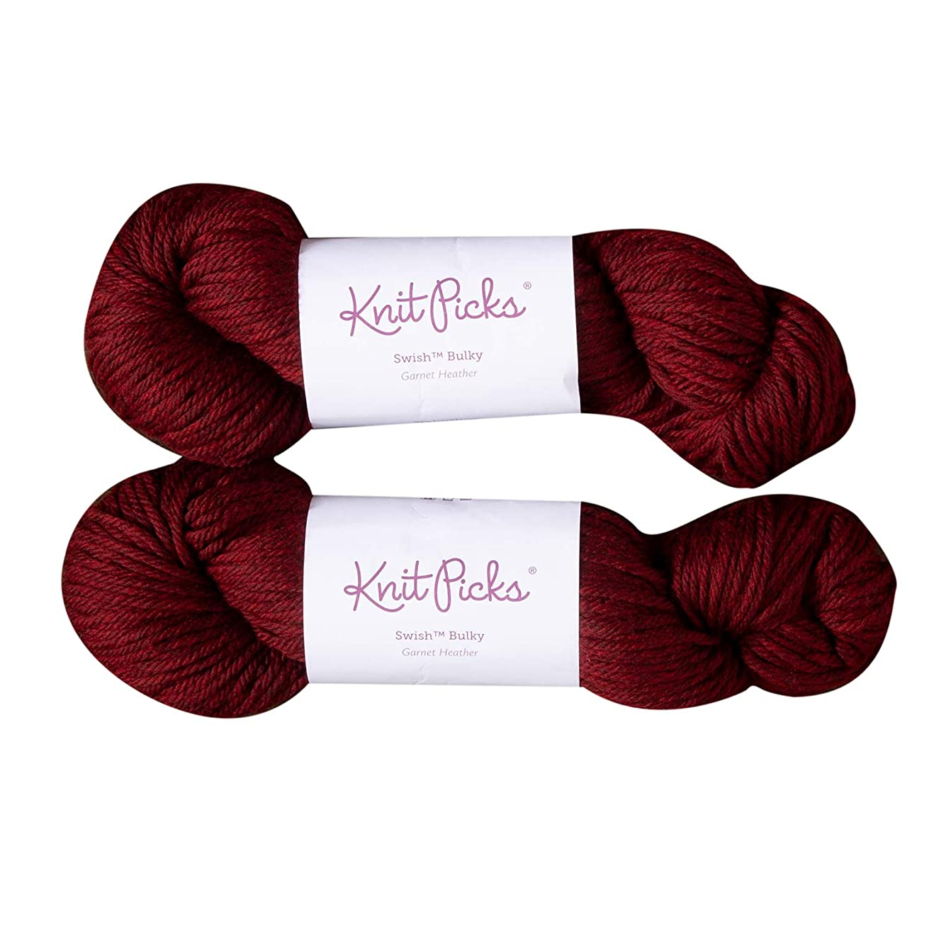 Knit Picks Swish Bulky Merino Wool Yarn - 2 Pack with Free Pattern (Garnet Heather)