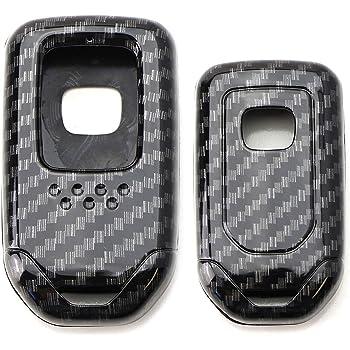 Wavemi for Honde Keychain,2pcs Honda Folding Fob Remote Key,Case Key Fob Cover Carbon Fiber Looks Style Soft Silicone Holder Shell with Key Chain for Honda Jade Honda CR-V XRV HR-V City Honda Accord