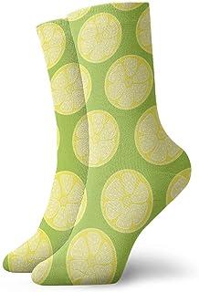 Vintage Yellow Lemon Pattern Socks Colorful Cool Sport Running Calcetines For Men Women