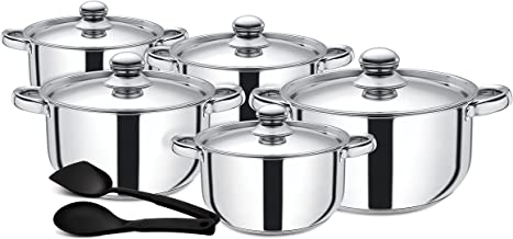 Royalford Cookware Set, Silver, Rf9352 Silver, CookwareSet, Deluxe Quality Stainless Steel, Casserole, Stock Po, Sauce Pa...