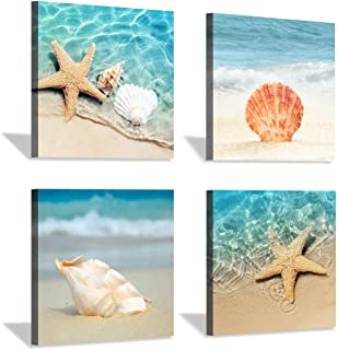 Hardy Gallery Beach Seashell Starfish Wall Art: Blue Ocean Beauties Artwork Print on Wrapped Canvas for Living Room (12''x12''x4pcs)