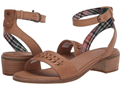 Sperry Seaport City Sandal Ankle Strap Woven Leather (Tan) Women