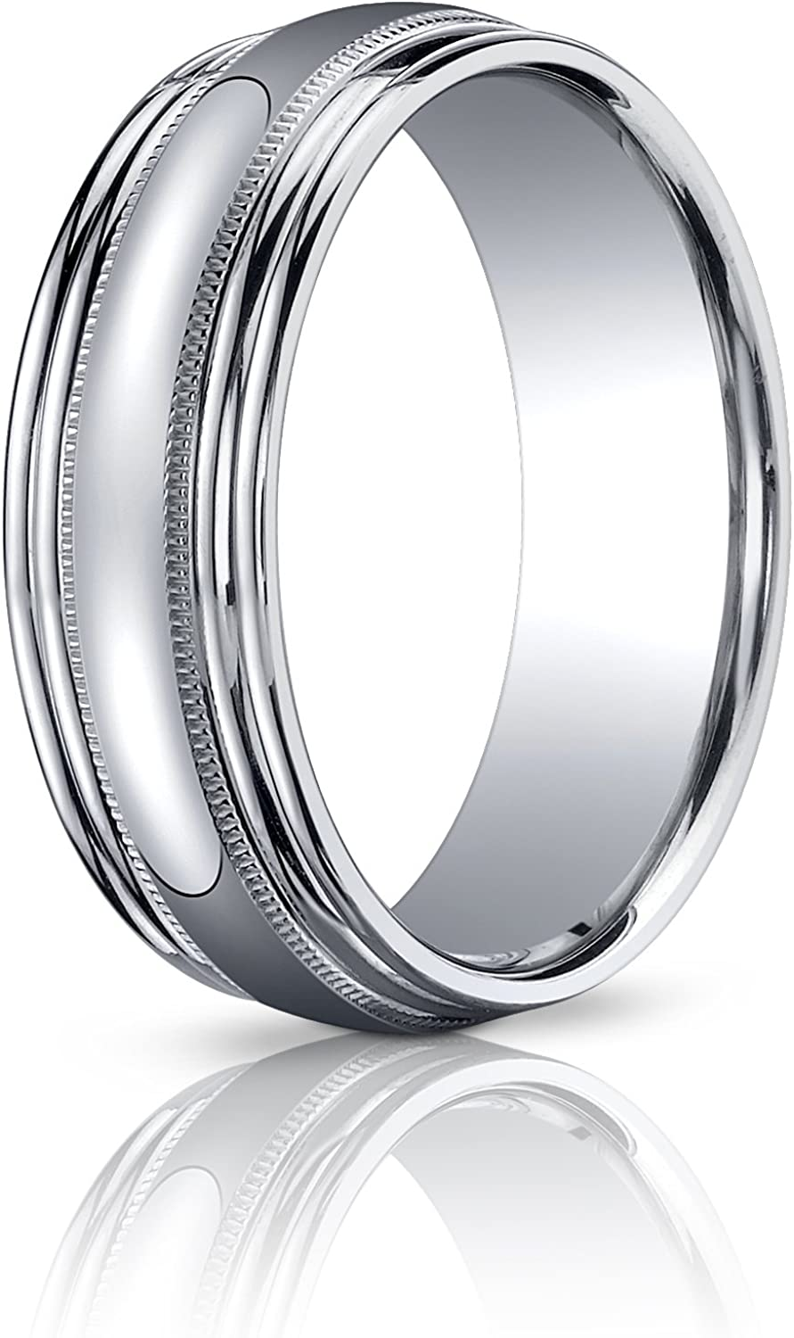 Women's 14K White Gold 7.5mm Milgrain Doubl Polished Popular brand in the world Comfort Mesa Mall Fit