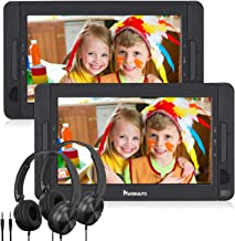 "NAVISKAUTO 10.5"" Dual Screen DVD Player Portable for Car with Headphones, 5-Hour.."