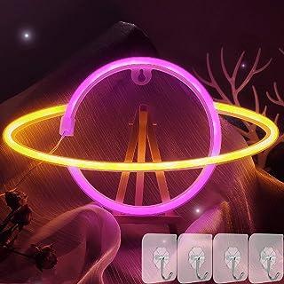 YIVIYAR Planet Leuchtreklamen Led Neon Sign Light Wand Deko, USB/Batterie Planet Neonlicht LED Nachtlampe Cooles Gadget Zi...