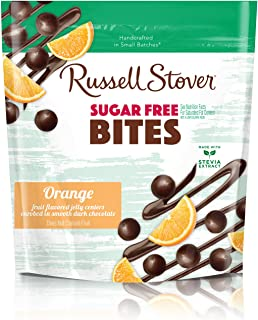 Russell Stover Sugar-Free Dark Chocolate Orange Bites 5 Ounce Bag Sugar-Free Candy, Dark Chocolate Candy Bag, Bite Sized Orange Bites Covered in Chocolate Candy Sweetened with Stevia