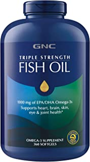 GNC Fish Oil 1000 Milligram of EPA/DHA Omega 3s for Joint, Skin, Eye, and Heart Health - 360 Softgels