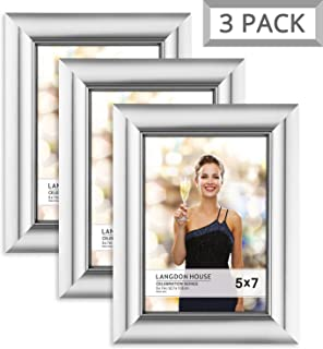 Langdon House 5x7 Picture Frame (3 Pack, Silver), Silver Photo Frame 5 x 7, Wall Mount or Table Top, Set of 3 Celebration Collection