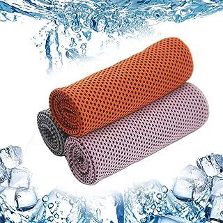 冷却タオルUVカットアウトドアスポーツのクールで速乾性の吸収性冷たいタオル 水泳ランニングハイキング旅行ヨガ釣りジムゴルフライディングスポーツタオル(3枚)