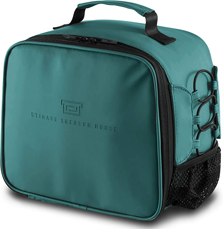 Lunch Box For Women Men Adult Leakproof Lunch Bag Reusable Neoprene Cooler Insulated Lunch Organizer Tote With Drink Holder For Hot Cold Food Fits 9 Cans For School Picnic Work Model Green