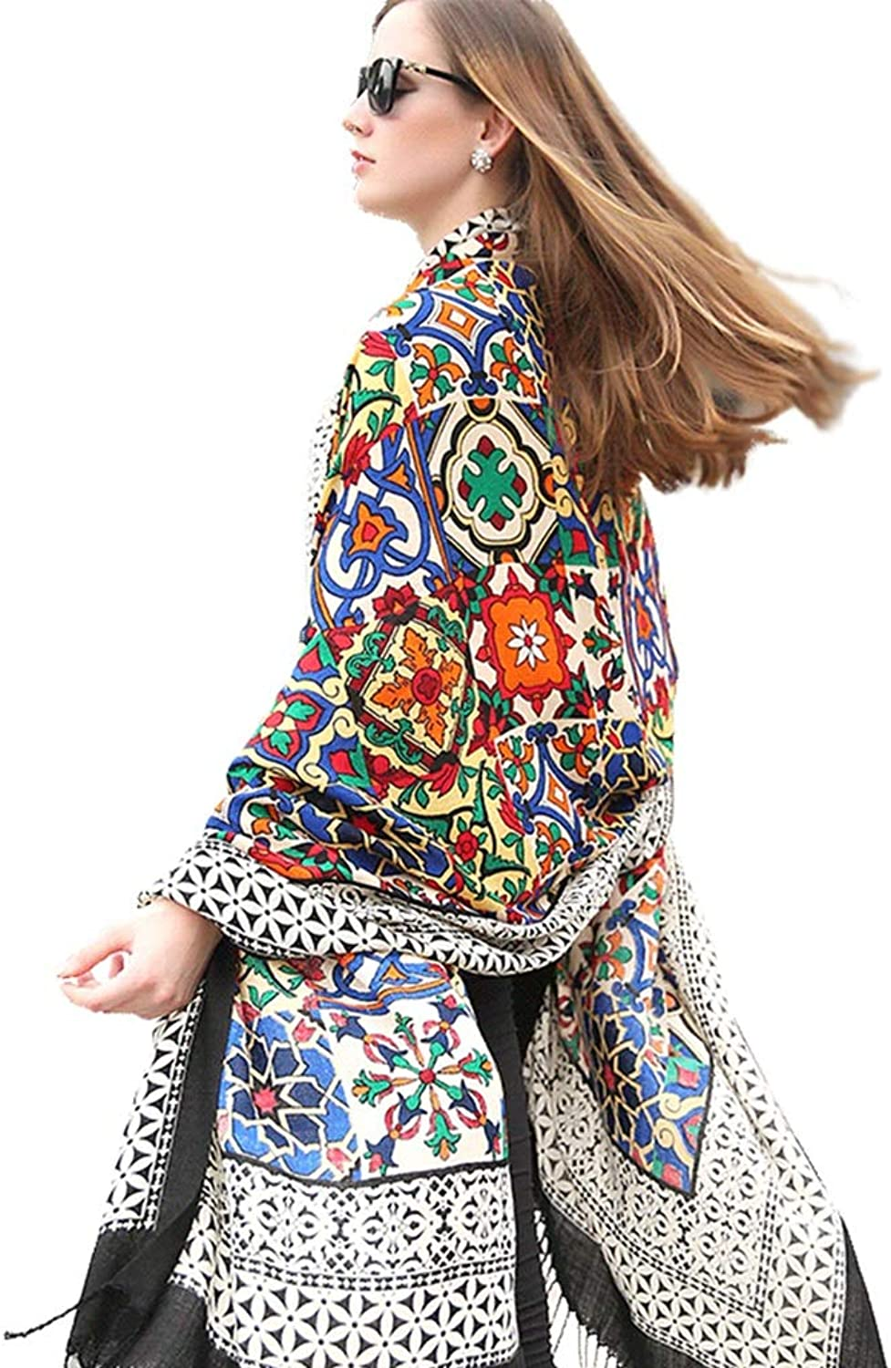 Cold Weather Scarves Scarf Ladies Scarf Ladies Shawl Wrap Long Shawl National Wind Travel Cape Cape Big Shawl color Print Soft Scarf New Year Gift Wraps (color   Rainbow color, Size   245  110cm)