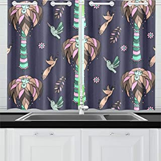 XINGCHENSS Kingfisher Flower Green Leaf Retro Kitchen Curtains Window Curtain Tiers for Café, Bath, Laundry, Living Room Bedroom 26 X 39 Inch 2 Pieces