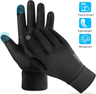 FoPcc Running Gloves for Men Women Compression Lightweight Touch Screen Cycling Windproof Anti-Slip Gloves Warm Liners for Winter