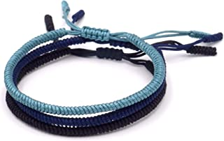 BENAVA Braccialetto tibetano portafortuna – Set di 3 braccialetti dell'amicizia intrecciati nero, blu, turchese