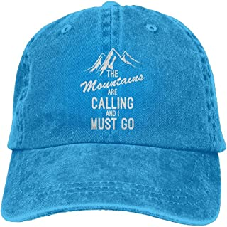 KWISISI Mountains Are Calling And I Must Go Adult Embroidered Cowboy Cap Sports Dad Hat