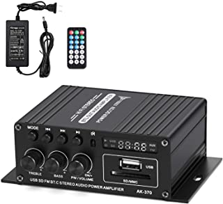 Facmogu AK370 HI-FI Stereo Audio Power Amplifier, Dual Channel Amp Sound Speaker Bluetooth with 12V 3A Power Supply, Bass ...