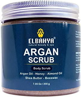 Organic Argan Body Scrub, Ultra Nourishing and Moisturizing with Natural Argan Oil, Honey, Almond Oil, Shea Butter and Beeswax Cera Alba - 7,05 Ounce