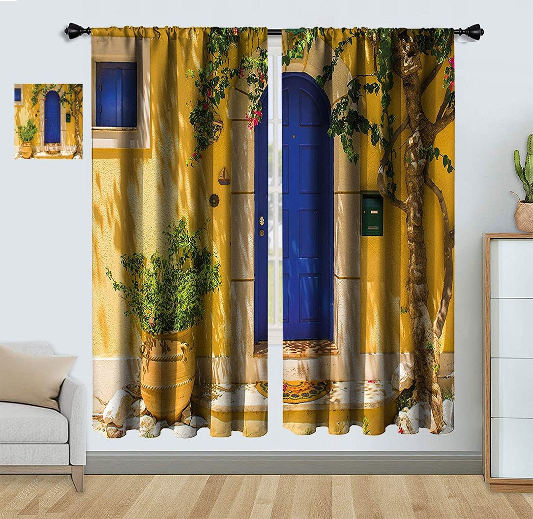 Yellow and Finally resale start New York Mall Blue Light Blocking Curtain House Greek Flo with Door