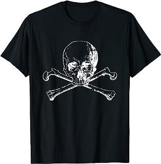 Distressed white skull and cross bones graphic Tee Shirt