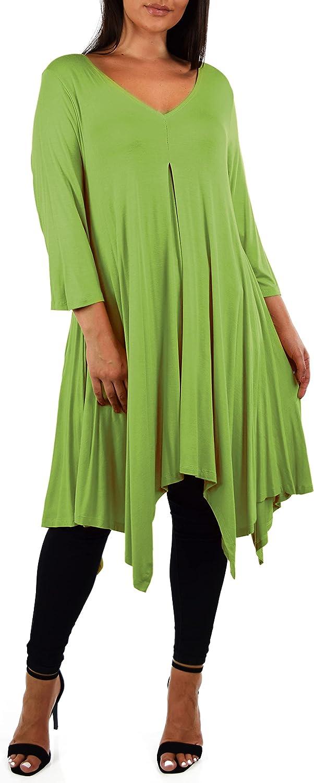 d2bPLUS Women Plus Size Long Flared 3/4 Sleeve Swing Dress Tunic Blouse Top
