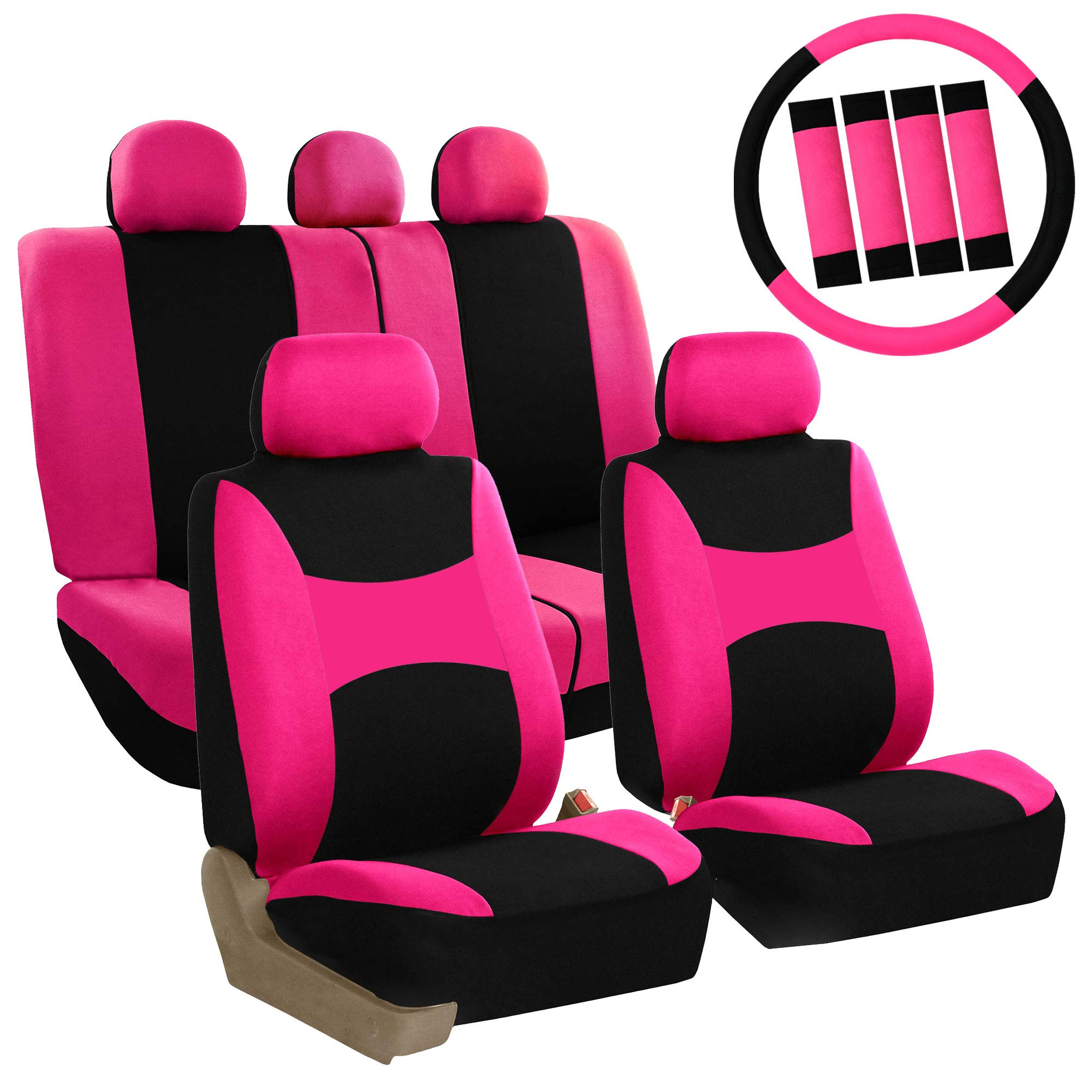 For Kia Seat Covers Set Black and Pink Flat Cloth New