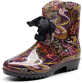 Rain Boots for Women, Floral Printed Wide Mid Calf Boots, Half Calf Rubber Low Heel Waterproof Shoes Lace Up, Comfortable Ladies Wellies Rainboots for Garden, Farm, Outdoor Footwear