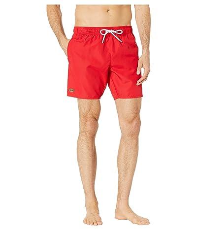 Lacoste Solid Taffeta Short Length Swim Trunks Nam (Red/Navy Blue) Men