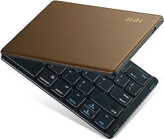 Ewin 新型 Bluetoothキーボード ワイヤレス 折りたたみ式 157g 超軽量 薄型 レザーカバー 財布型 ワイヤレスキーボード USB 薄型 IOS/Android/Windows に対応 スマホ用 スタンド付 日本語説明書 ブラウン