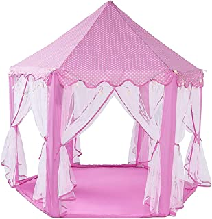 WoneNice Pink Princess Castle Play Tents,Large Playhouse with Led Star String Lights, Perfect Indoor and Outdoor for Girl- 55