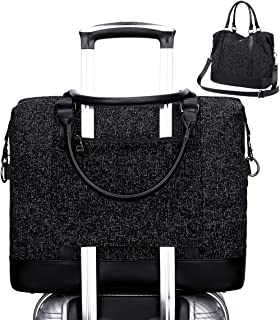 Womens Travel Weekend Bag Overnight Carry on Shoulder Duffel Beach Tote Bag (Black)