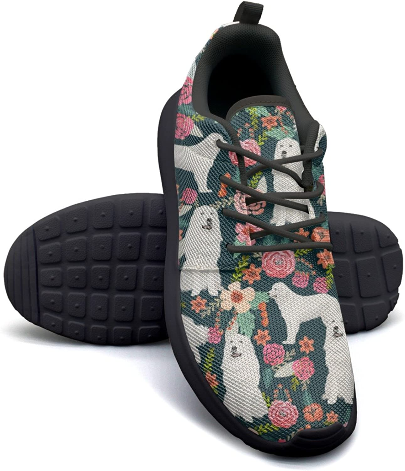 ERSER Cute Vintage Florals Fluffy White Dog Cushioned Running shoes Women