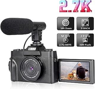 Cámara digital Vlogging Camera con pantalla giratoria de 3.0 pulgadas, cámara de video HD Ultra 2.7K de 30MP con linterna retráctil con micrófono, zoom potente de 16X, adecuado para bodas, viajes, vlogging, grabación de la vida