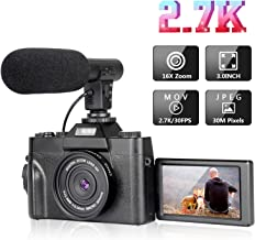 Digital Camera Vlogging Camera with 3.0inch Flip Screen, 30MP Ultra 2.7K HD Video Camera with Microphone Retractable Flashlight, 16X Powerful Zoom, Suitable for Wedding, Trip, Vlogging, Recording Life